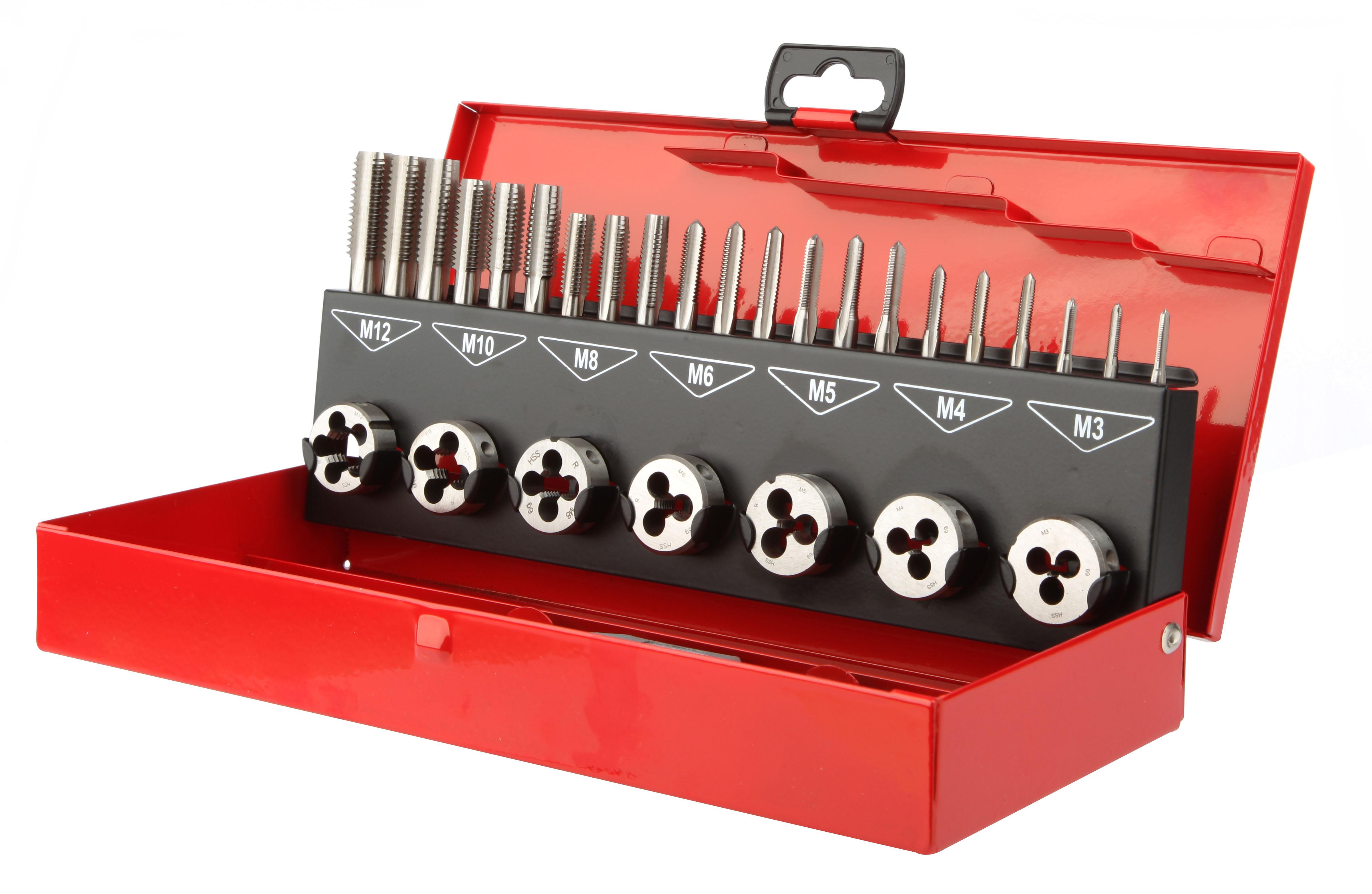 Drilling Set of tapes and dies Set Tap & die 31pcs Taps M3-4-5-6-8-10-12 Dies M3-4-5-6-8-10-12 + tools - 078E.jpg