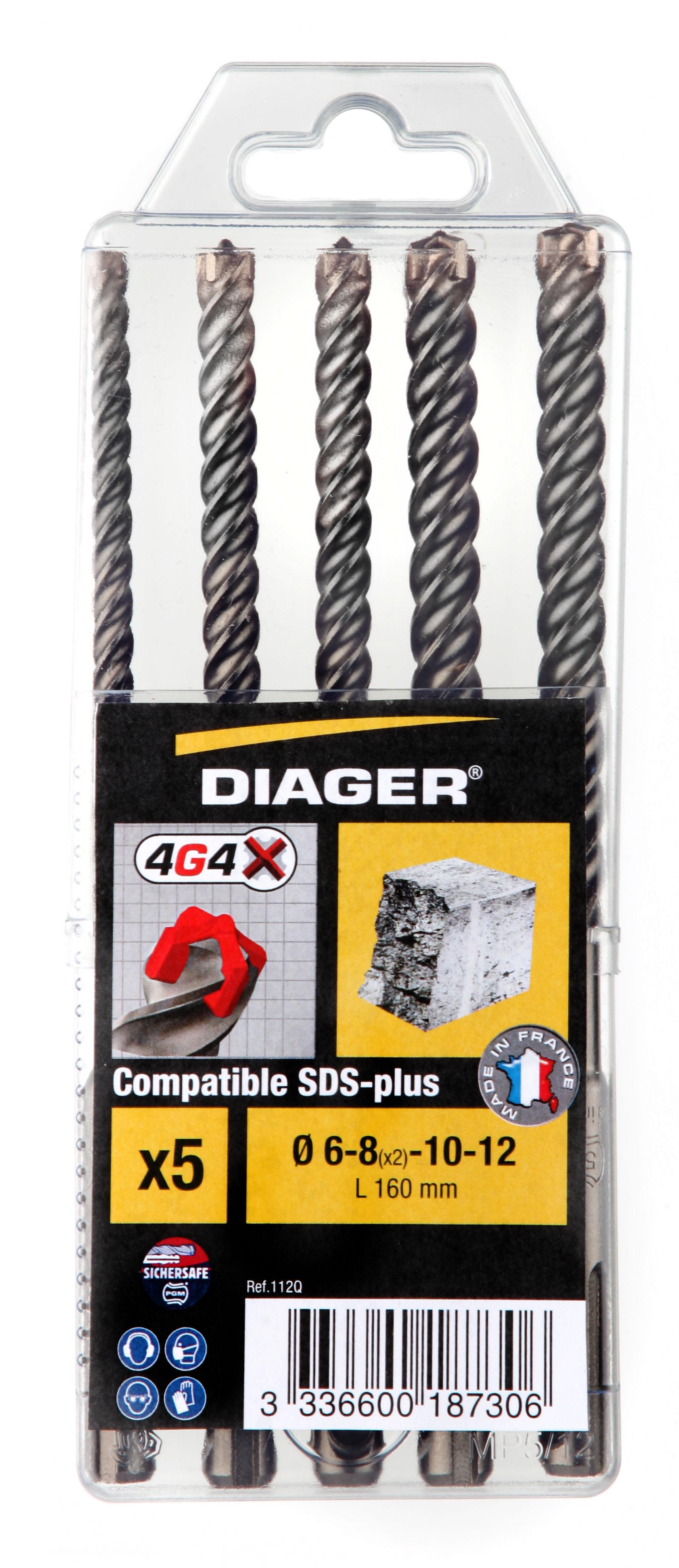 Perçage Foret 4G4 Coffret plast. 5pcs 4G4 L160mm Ø 6-8(x2)-10-12 mm - 112Q.jpg