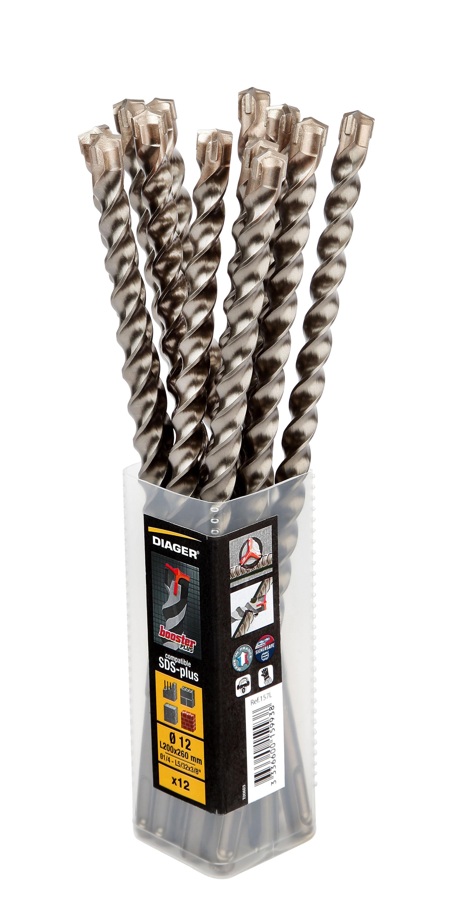 Drilling Booster Plus Hammer drill bit 3 cutting edges compatible SDS+ pack 12 pcs - 157L.jpg