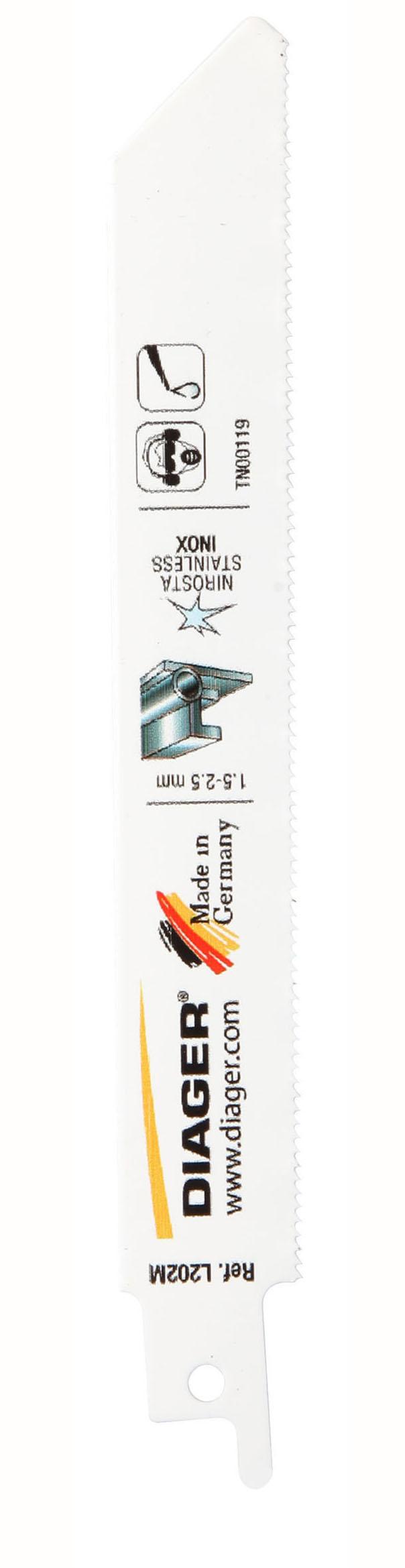 Sciage Acier, tôle et inox Lame de scie sabre pour matériaux fins - L202M.jpg