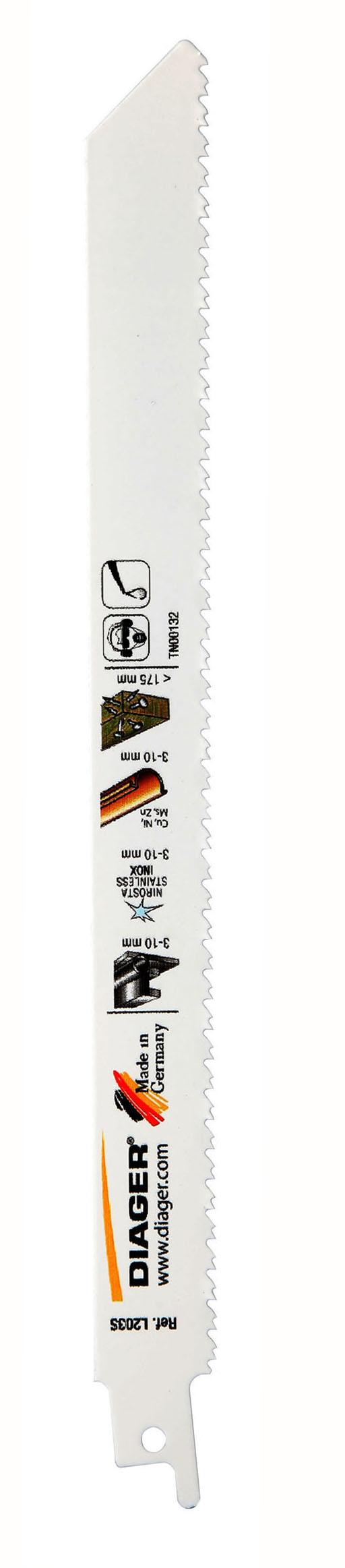 Sciage Aluminium, acier et cuivre Lame de scie sabre denture Twin-cut - L203S.jpg