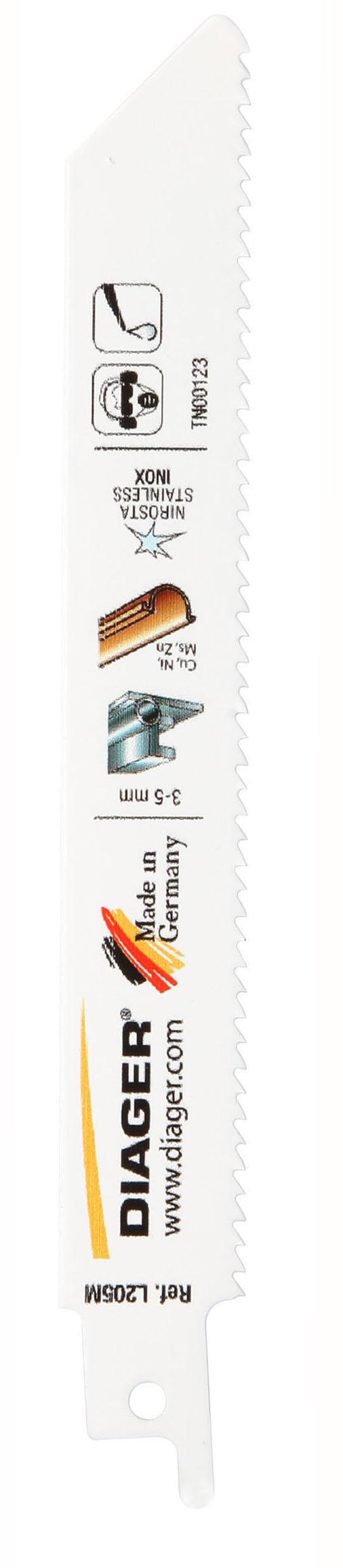 Sciage Acier, tôle, cuivre et inox Lame de scie sabre pour matériaux épais - L205M.jpg