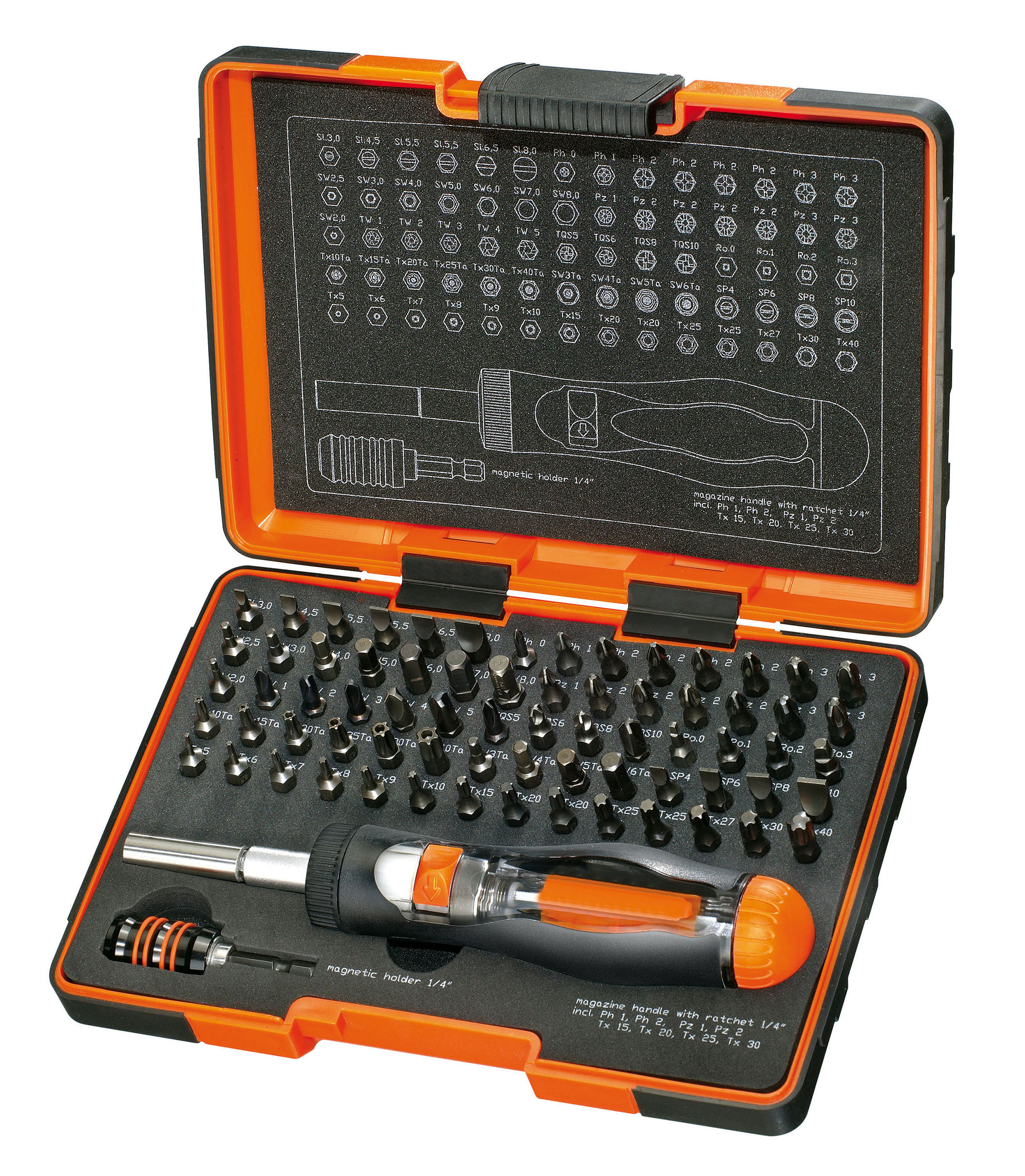 Screwdriving Torsion bit Set 12 torsion bits 25mm PZ1-2 (2)-3/PH1-2 (2)-3/ PL4,5-5,5-6,5 + bits holder - U643D.jpg